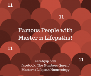 Famous People with Master 11 Numerology Lifepaths (29/11 and